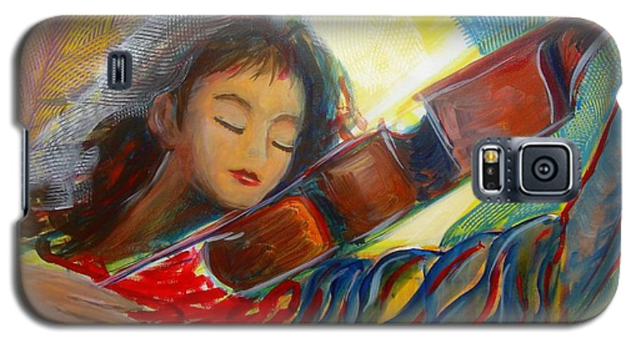 Violin Galaxy S5 Case featuring the painting The Sweetest Sounds by Regina Walsh