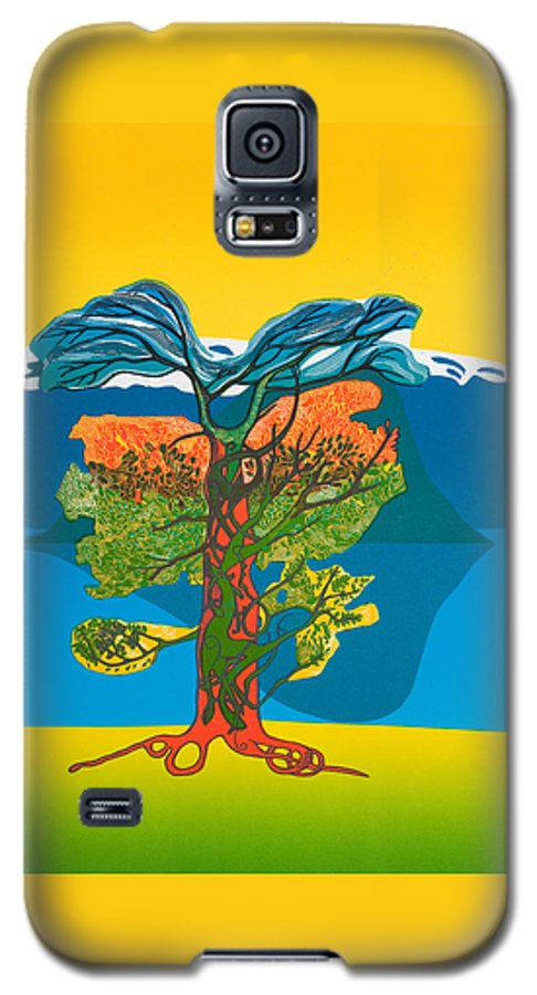 Landscape Galaxy S5 Case featuring the mixed media The Tree Of Life. From The Viking Saga. by Jarle Rosseland