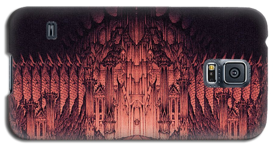 Barad Dur Galaxy S5 Case featuring the drawing The Walls Of Barad Dur by Curtiss Shaffer