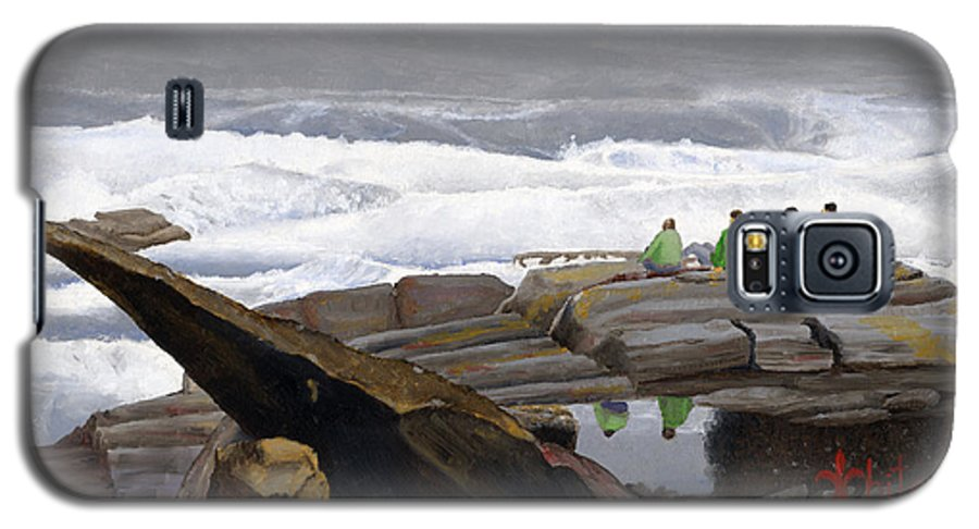 Waves Galaxy S5 Case featuring the painting The Wave Watchers by Dominic White