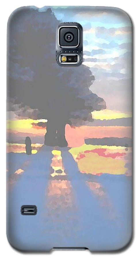 Sky.clouds.winter.sunset.snow.shadow.sunrays.evening Light.tree.far Forest. Galaxy S5 Case featuring the digital art The Winter Lonely Tree by Dr Loifer Vladimir