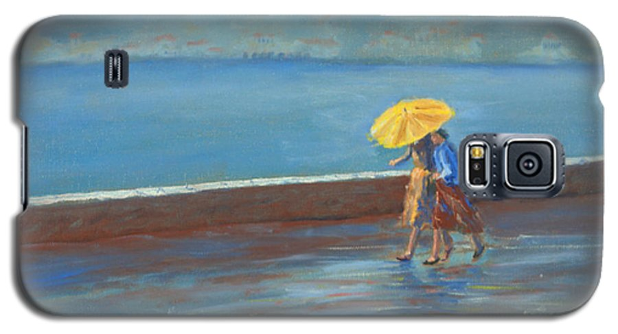 Rain Galaxy S5 Case featuring the painting The Yellow Umbrella by Jerry McElroy