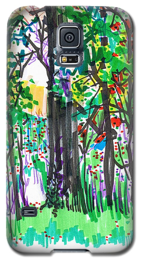 Forest Galaxy S5 Case featuring the drawing Thicket by Seth Weaver