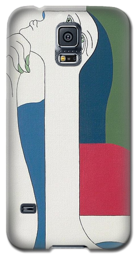 Modern Special Women Bleu Red Green Galaxy S5 Case featuring the painting Thinking by Hildegarde Handsaeme