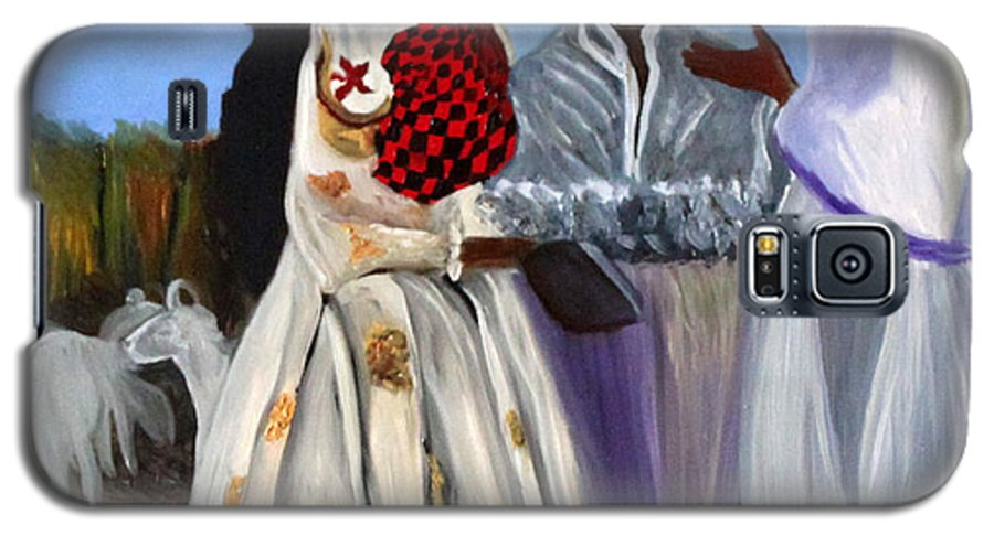 Galaxy S5 Case featuring the painting Three African Women by Pilar Martinez-Byrne