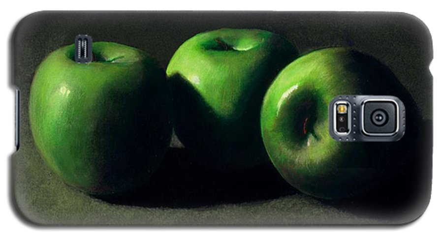 Still Life Galaxy S5 Case featuring the painting Three Green Apples by Frank Wilson