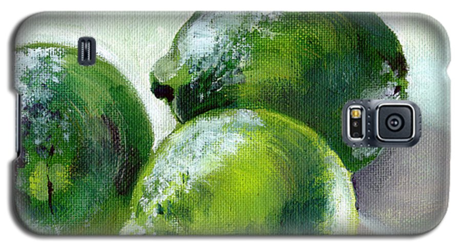 Food Galaxy S5 Case featuring the painting Three Limes by Sarah Lynch