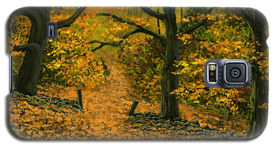 Landscape Galaxy S5 Case featuring the painting Through The Fallen Leaves by Frank Wilson