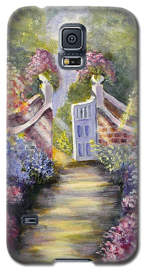 Flowers Galaxy S5 Case featuring the painting Through The Garden Gate by Quwatha Valentine