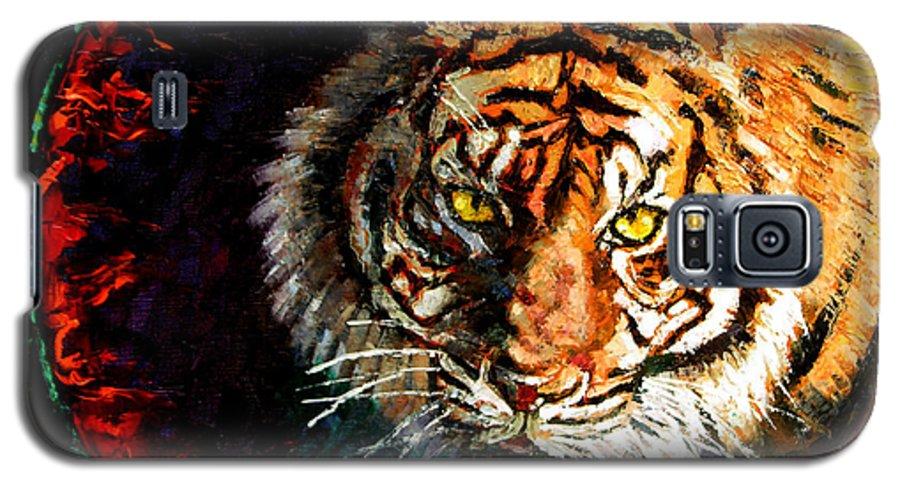 Tiger Galaxy S5 Case featuring the painting Through The Ring Of Fire by John Lautermilch
