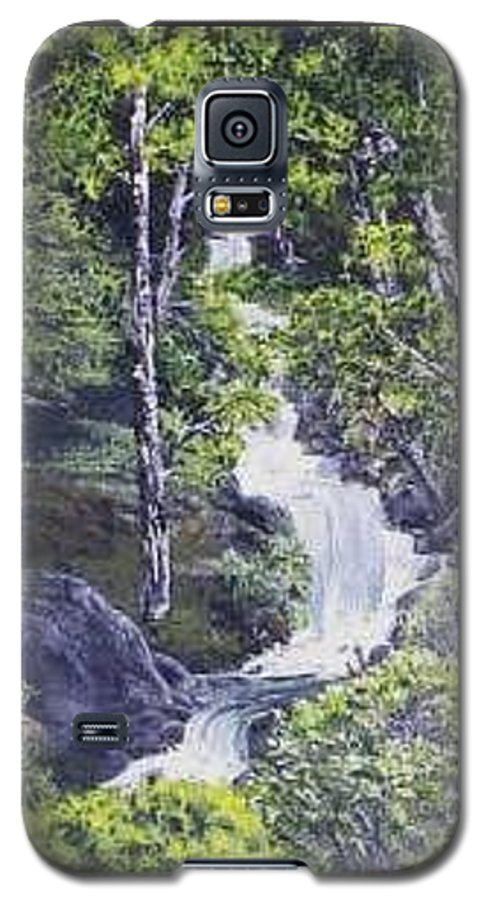 This Is A Lovely Waterfall We Saw On The Way Back Home From Mount Hood Oregon. Galaxy S5 Case featuring the painting Through The Woods by Darla Boljat