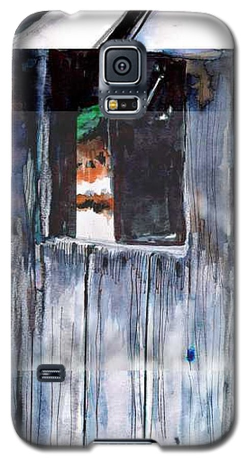 An Old Mysterious Barn With Deep Dark Shadows And Secrets. Rustic And Moody. Galaxy S5 Case featuring the drawing Thru The Barn Window by Seth Weaver