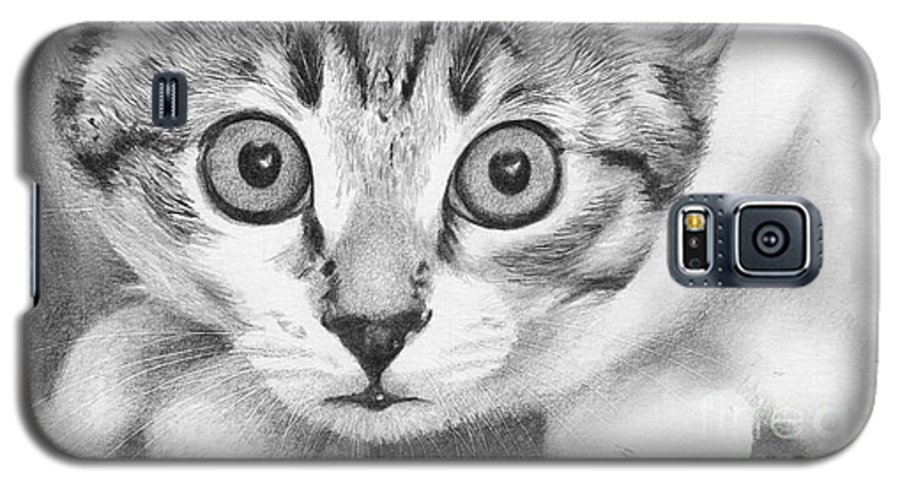 Cat Galaxy S5 Case featuring the drawing Tiddles by Karen Townsend