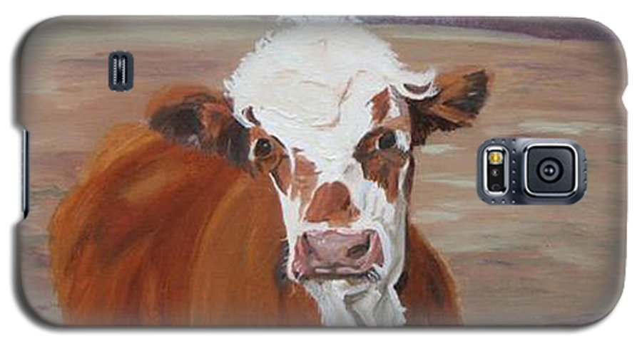 Cow Calf Farmscene Galaxy S5 Case featuring the painting Tiffany by Paula Emery