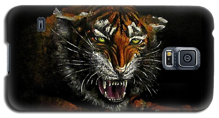 Animal Galaxy S5 Case featuring the painting Tiger-1 Original Oil Painting by Natalja Picugina