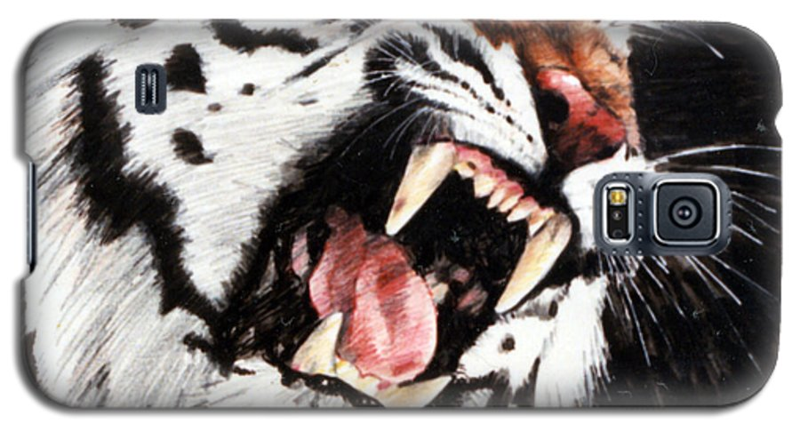 Tiger Roaring Galaxy S5 Case featuring the painting Tiger by John Lautermilch