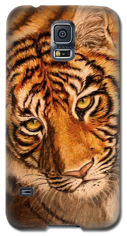 Tiger Galaxy S5 Case featuring the drawing Tiger by Karen Ilari