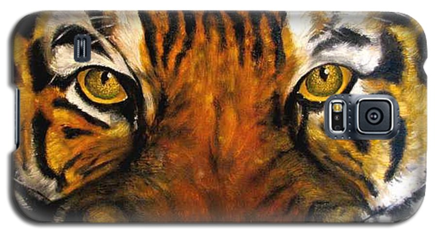 Tiger Galaxy S5 Case featuring the painting Tiger Mask Original Oil Painting by Natalja Picugina