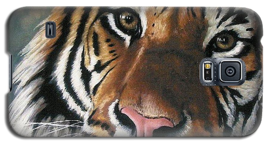 Tiger Galaxy S5 Case featuring the pastel Tigger by Barbara Keith