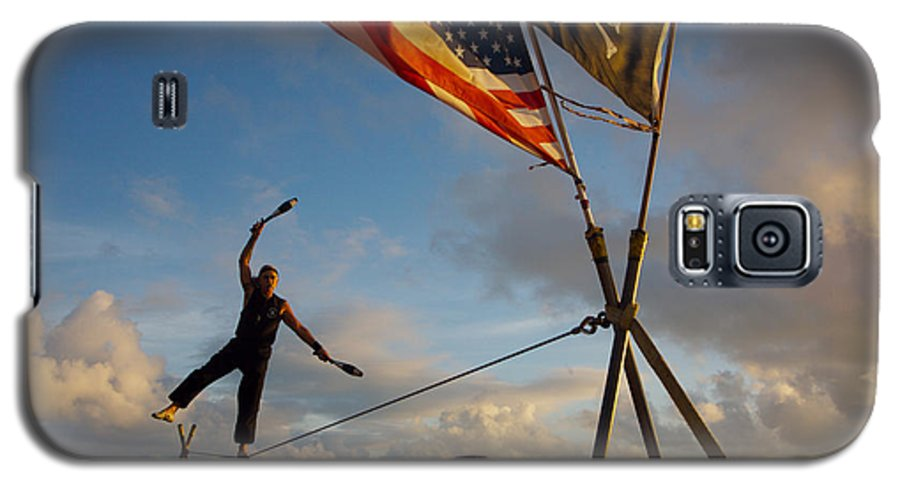 Balance Galaxy S5 Case featuring the photograph Tight Rope Walker In Key West by Carl Purcell