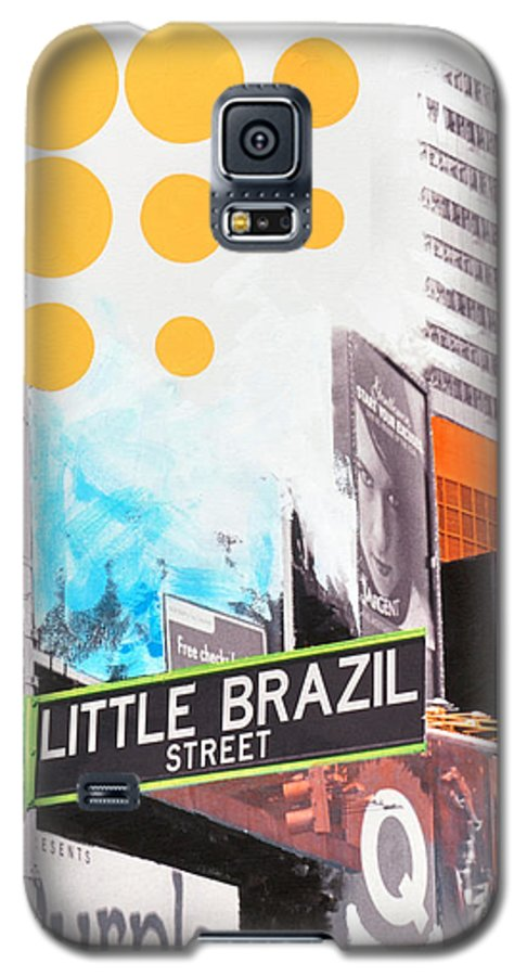 Ny Galaxy S5 Case featuring the painting Times Square Little Brazil by Jean Pierre Rousselet