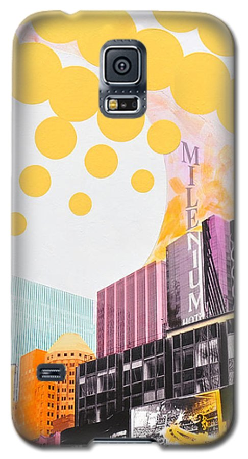 Ny Galaxy S5 Case featuring the painting Times Square Milenium Hotel by Jean Pierre Rousselet