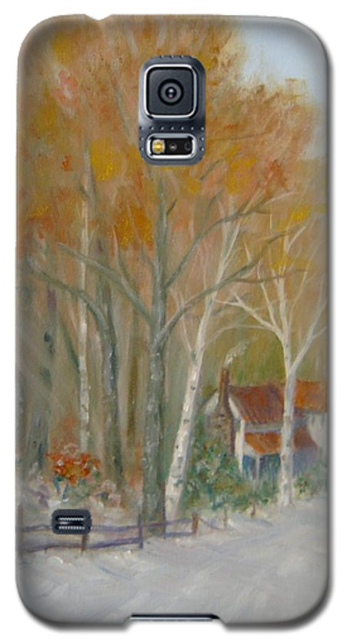 Country Road; House; Snow Galaxy S5 Case featuring the painting To Grandma's House by Ben Kiger