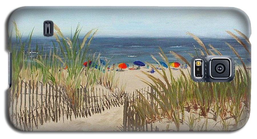 Beach Galaxy S5 Case featuring the painting To The Beach by Lea Novak