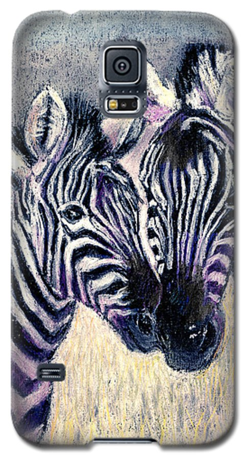 Zebras Galaxy S5 Case featuring the pastel Together by Arline Wagner
