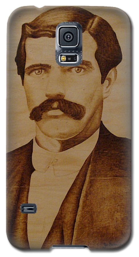 Pyrography; Woodburning; Sepia; Old West; Sheriff; Galaxy S5 Case featuring the pyrography Tom Smith by Jo Schwartz