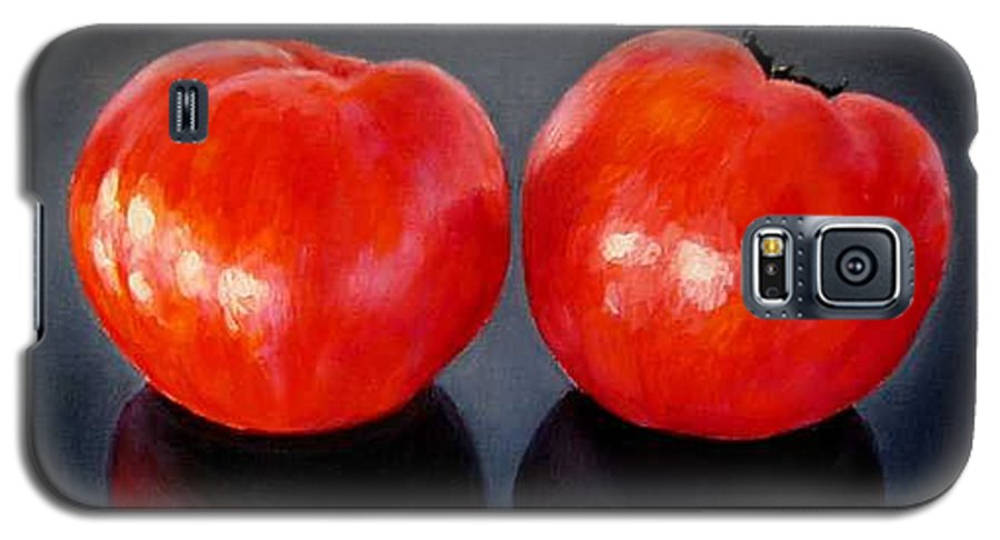 Tomatoes Galaxy S5 Case featuring the painting Tomatoes Original Oil Painting by Natalja Picugina