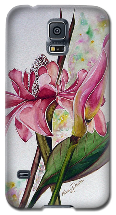Flower Painting Floral Painting Botanical Painting Flowering Ginger. Galaxy S5 Case featuring the painting Torch Ginger Lily by Karin Dawn Kelshall- Best
