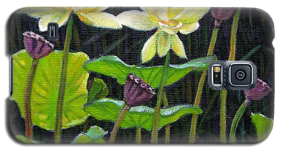 Lotus Galaxy S5 Case featuring the painting Touching Lotus Blooms by John Lautermilch