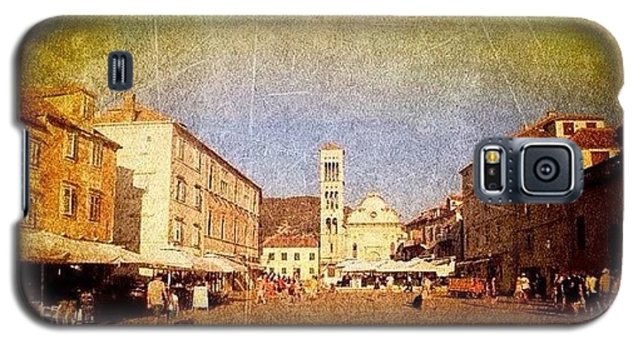 Edit Galaxy S5 Case featuring the photograph Town Square #edit - #hvar, #croatia by Alan Khalfin