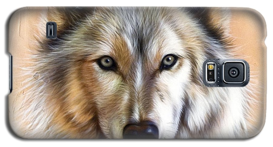 Wolves Galaxy S5 Case featuring the painting Trace Two by Sandi Baker