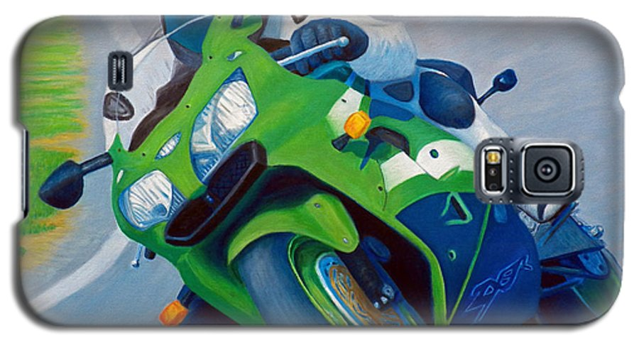 Motorcycle Galaxy S5 Case featuring the painting Track Day - Kawasaki Zx9 by Brian Commerford