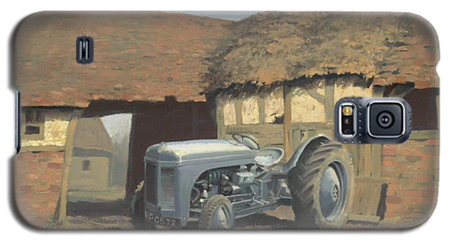 Tractor Galaxy S5 Case featuring the painting Tractor And Barn by Richard Picton