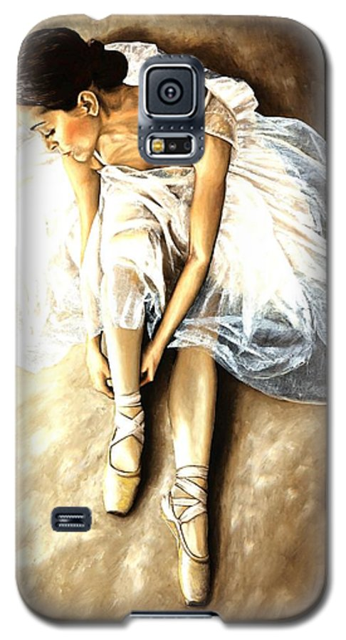 Ballet Galaxy S5 Case featuring the painting Tranquil Preparation by Richard Young