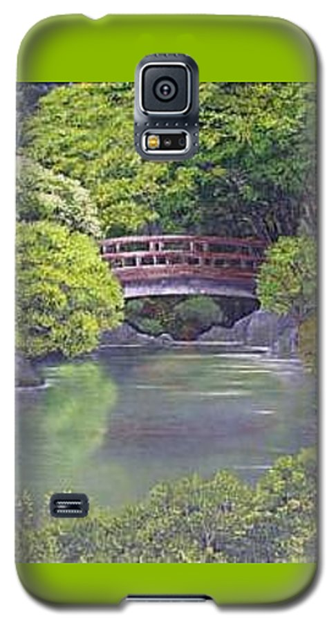 This Peaceful Scene Is An Artist's Rendition Of The Japanese Gardens Galaxy S5 Case featuring the painting Tranquility by Darla Boljat