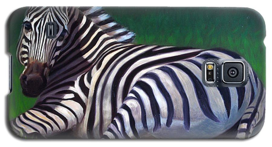 Zebra Galaxy S5 Case featuring the painting Tranquility by Greg Neal