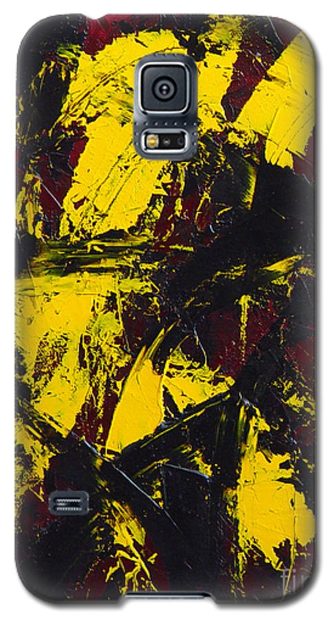 Abstract Galaxy S5 Case featuring the painting Transitions With Yelllow And Black by Dean Triolo