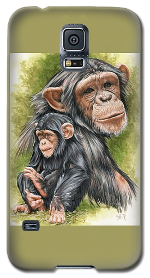 Chimpanzee Galaxy S5 Case featuring the mixed media Treasure by Barbara Keith