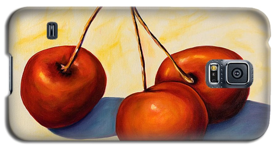 Cherries Galaxy S5 Case featuring the painting Trilogy by Shannon Grissom