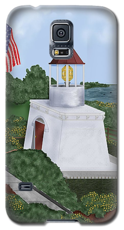Trinidad Memorial Galaxy S5 Case featuring the painting Trinidad Memorial Lighthouse by Anne Norskog