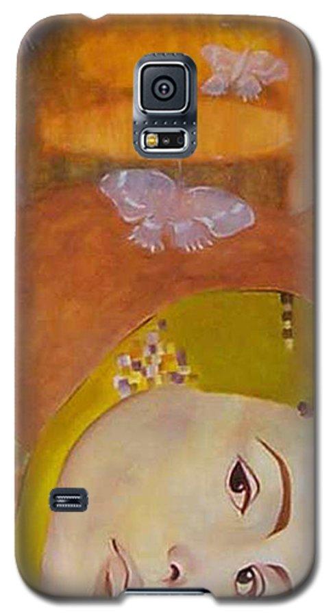 Figurative Galaxy S5 Case featuring the painting Trio by Antoaneta Melnikova- Hillman