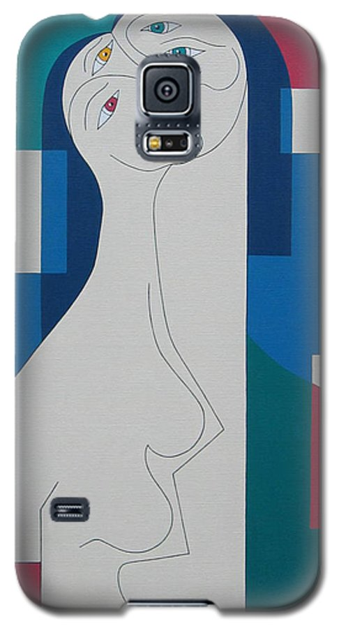 Modern Women Bleu Green Red Humor Galaxy S5 Case featuring the painting Trio by Hildegarde Handsaeme