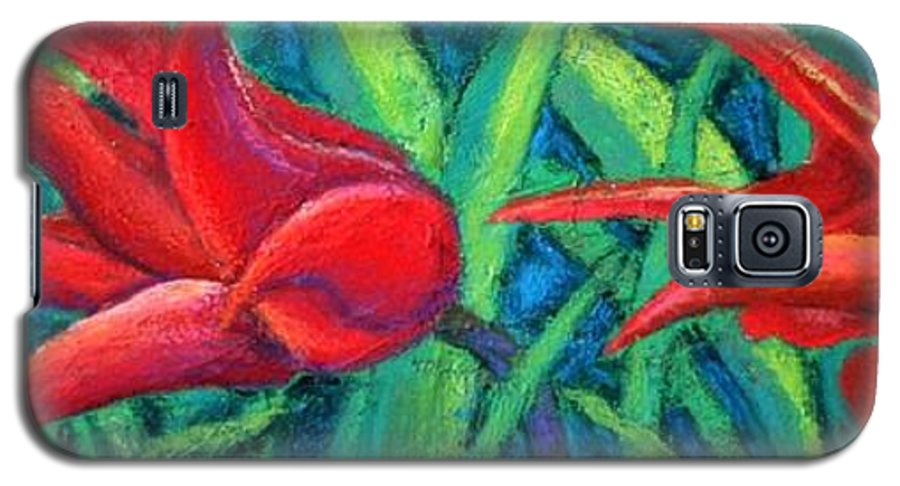 Tulips Galaxy S5 Case featuring the painting Triple Tease Tulips by Minaz Jantz