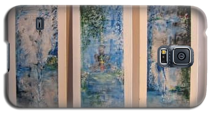 Meditation Galaxy S5 Case featuring the painting Triptych Spiritual Meditation by Lizzy Forrester