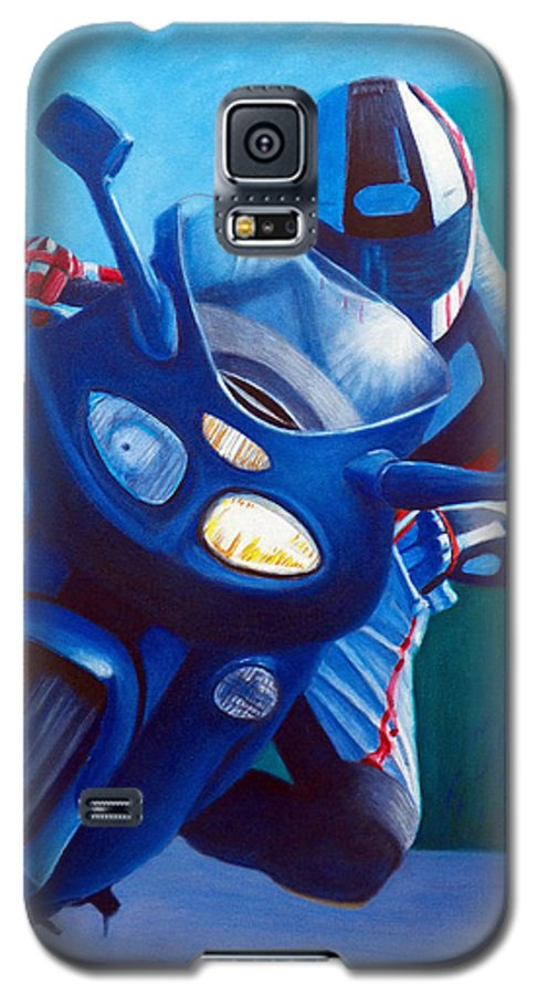 Motorcycle Galaxy S5 Case featuring the painting Triumph Sprint - Franklin Canyon by Brian Commerford