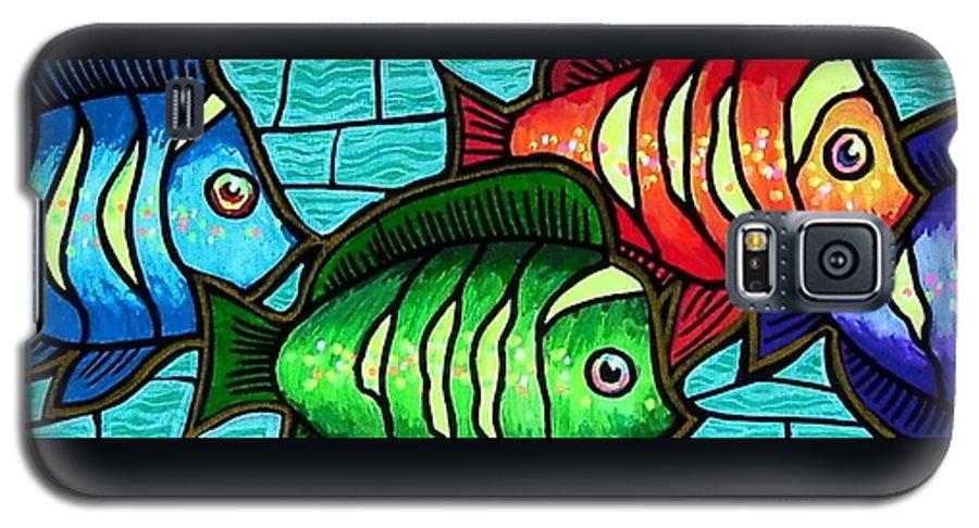 Tropics Galaxy S5 Case featuring the painting Tropic Swim by Jim Harris
